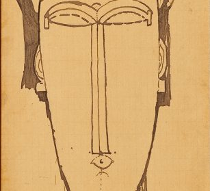 Modigliani tête encre